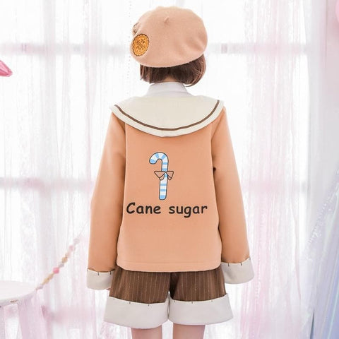 S/M/L Khaki Kawaii Mori Girl Woollen Coat SP168390