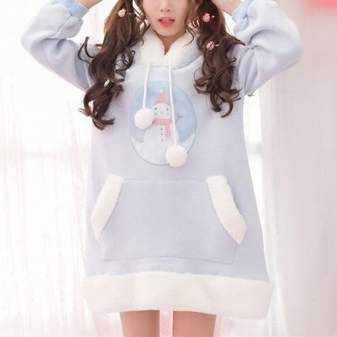 S/M/L Kwaii Snowman Printing Hoodie Jumper Dress SP168513