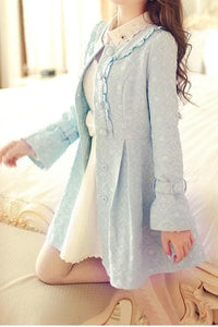 S/M/L Light Blue Princess Bow Lace Coat SP154532 - SpreePicky  - 6