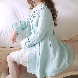 S/M/L Light Blue Princess Bow Lace Coat SP154532 - SpreePicky  - 5