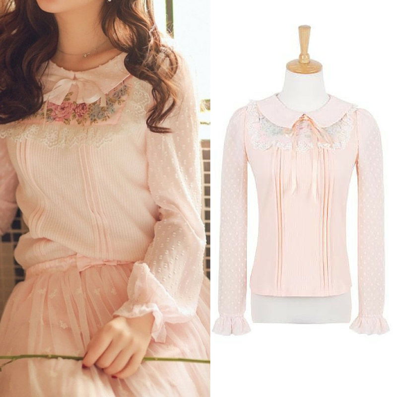 S/M/L Light Orange Sweet Chiffon Shirt SP165136
