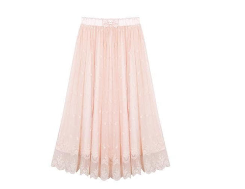S/M/L Light Orange Sweet Lace Embroidery Long Skirt SP165137
