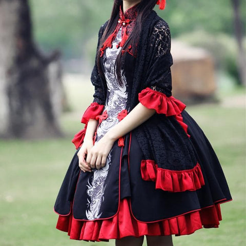 S/M/L Lolita Classical Chinese Style Azure Dragon Dress/Tippet Cosplay Costume SP165441