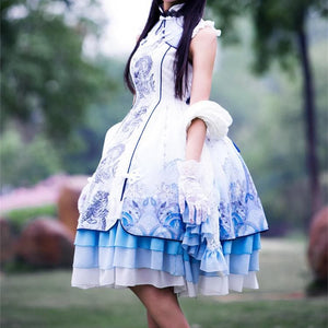 S/M/L Lolita Classical Chinese Style White Tiger Dress/Tippet Cosplay Costume SP165440