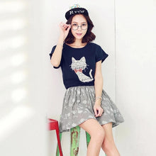 Load image into Gallery viewer, S/M/L Navy/Beige I am a cute cat dress SP152368 - SpreePicky FreeShipping