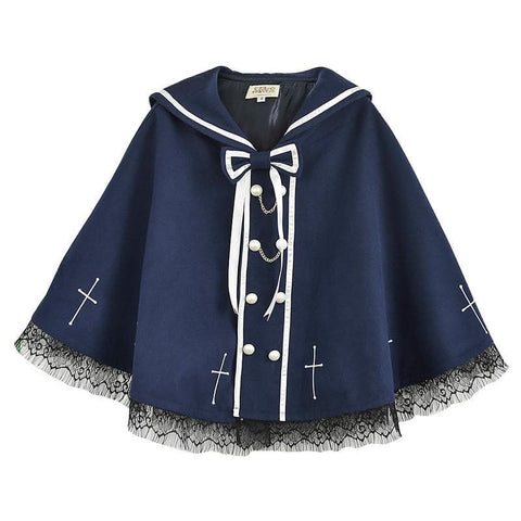 S/M/L Navy Cute Devil Sailor Collar Laceness Cape Coat SP168167