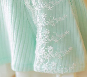 S/M/L Pastel Green Sweet Princess Long Sleeve Knitted Dess SP153502 - SpreePicky  - 8