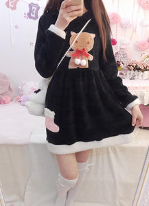 S/M/L Pink/Black Kawaii Neko Cat Embroidery Fleece Dress SP165487