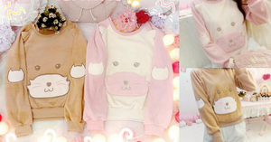 S/M/L Pink/Brown Kawaii Neko Cat Embroidery Fleece Jumper SP165490