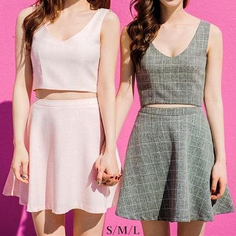 S/M/L Pink/Grey Me & My Bff Midriff-Baring Crop top + A Shape Skirt Set SP152218