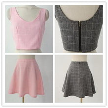 Load image into Gallery viewer, S/M/L Pink/Grey Me & My Bff Midriff-Baring Crop top + A Shape Skirt Set SP152218 - SpreePicky  - 4