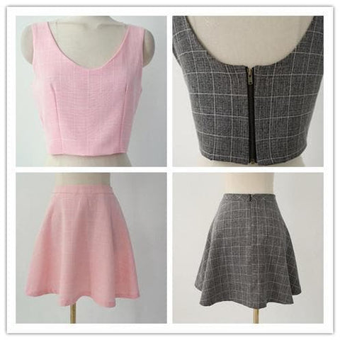 S/M/L Pink/Grey Me & My Bff Midriff-Baring Crop top + A Shape Skirt Set SP152218 - SpreePicky  - 4