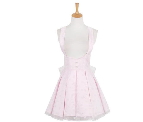 S/M/L Pink High-Waisted Sweet Gauze Pleated Suspender Dress SP165131