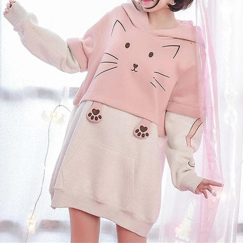 S/M/L Pink Kawaii Cat Midi Hoodie Jumper SP167986