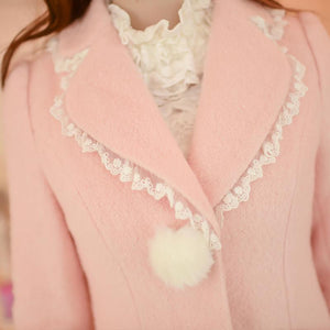 S/M/L Pink Sweet Bodycon Midi Woolen Coat SP168548