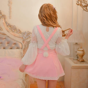 S/M/L Pink Sweet Bunny Ear Suspender Skirt SP165135