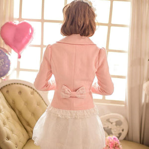 S/M/L Pinky Wave Collar Double-breasted Coat SP153623 - SpreePicky  - 4