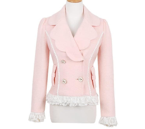 S/M/L Pinky Wave Collar Double-breasted Coat SP153623 - SpreePicky  - 8