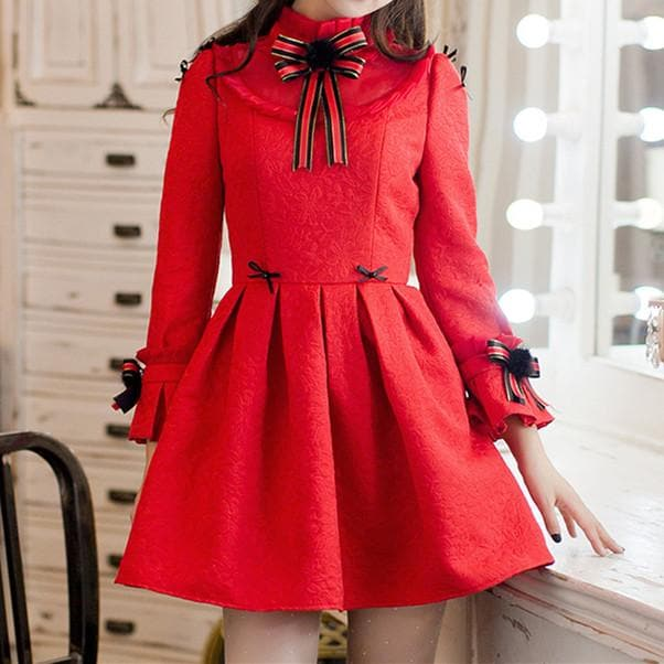 S/M/L Red Sweet Bodycon Bowknot Princess Dress SP168555
