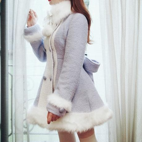 S/M/L [Reservation]Light Blue/Pink Winter Fluffy Fleece Coat SP154413 - SpreePicky  - 5