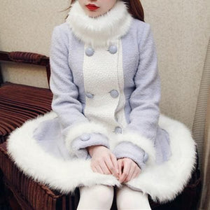 S/M/L [Reservation]Light Blue/Pink Winter Fluffy Fleece Coat SP154413 - SpreePicky  - 4