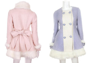 S/M/L [Reservation]Light Blue/Pink Winter Fluffy Fleece Coat SP154413 - SpreePicky  - 3