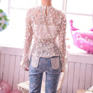 S/M/L Snow Dots Lace Top SP153419 - SpreePicky  - 5