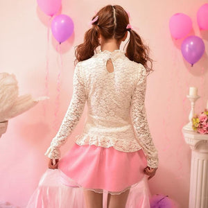 S/M/L Sweet Lace Bottoming Shirt Blouse SP153614 - SpreePicky  - 4