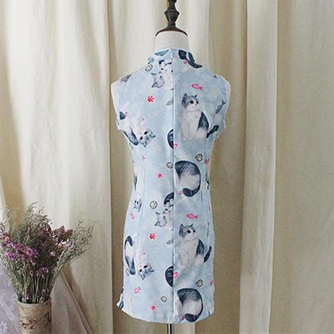 S/M/L Vintage Kitty Chinese Cheongsam Sleeveless Dress SP152955