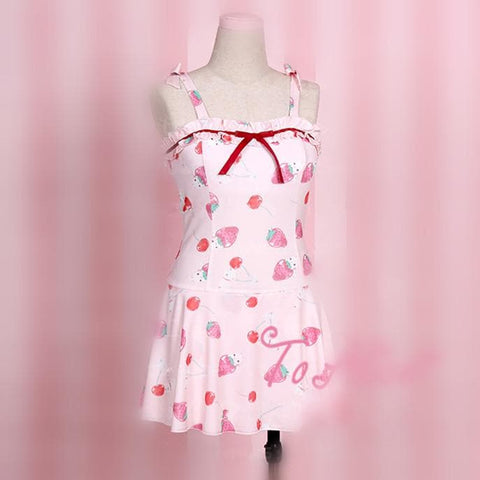 S/M/L White/Black/Pink Strawberry One Piece Swimsuit SP167114