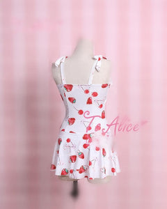 S/M/L White/Black/Pink Strawberry One Piece Swimsuit SP167114 - SpreePicky FreeShipping