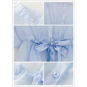 S/M/L White|Blue Perspective Blouse Top SP151949 - SpreePicky  - 5
