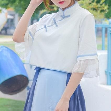 S/M/L White Chinese Style Flare Sleeve Top SP179871