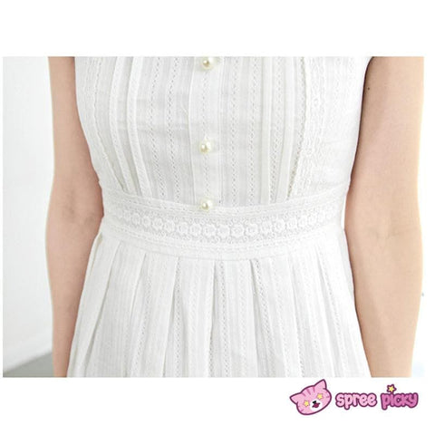 S/M/L White Cotton Lace Dress SP151627 - SpreePicky  - 5
