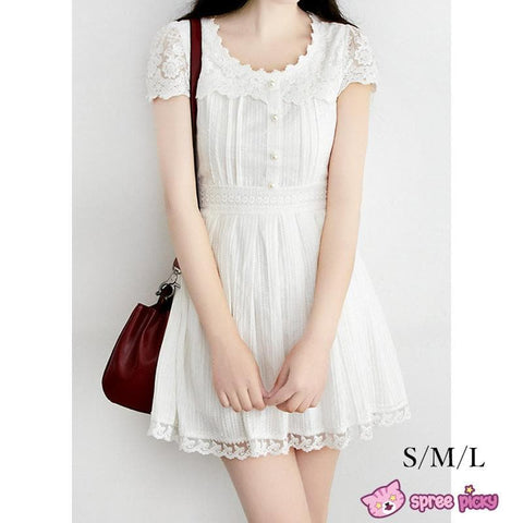 S/M/L White Cotton Lace Dress SP151627 - SpreePicky  - 1