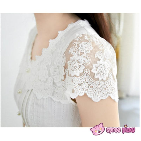 S/M/L White Cotton Lace Dress SP151627 - SpreePicky  - 4