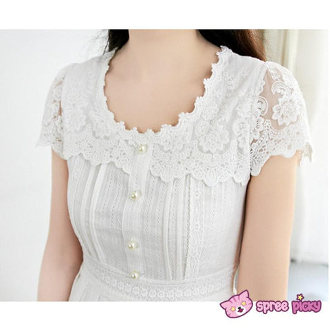 S/M/L White Cotton Lace Dress SP151627 - SpreePicky  - 3