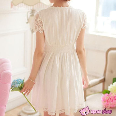 S/M/L White Cotton Lace Dress SP151627 - SpreePicky  - 6