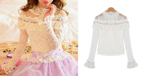 S/M/L White Princess Lace Long Sleeve Shirt SP165139