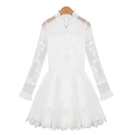 S/M/L White Sweet Long Sleeve Chiffon Dress SP165132