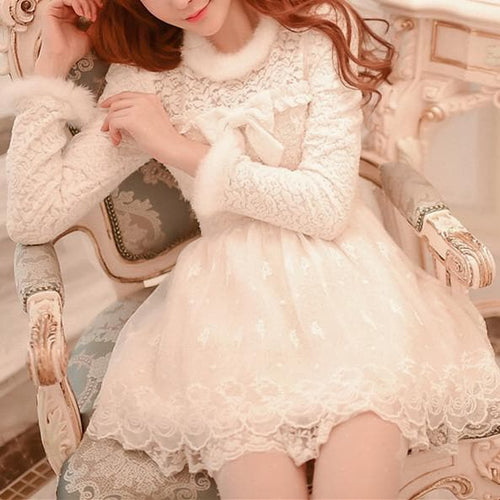 S/M/L White Sweet Princess Lace Dress SP167731