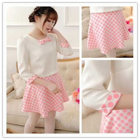 S/M/L White Top + Pink Grids Skirt 2 Pieces Set SP152013 - SpreePicky  - 2