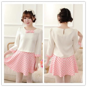 S/M/L White Top + Pink Grids Skirt 2 Pieces Set SP152013 - SpreePicky  - 1