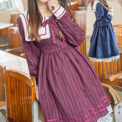 S/M/L Wine/Navy Retro Long Sleeve Dress SP167890