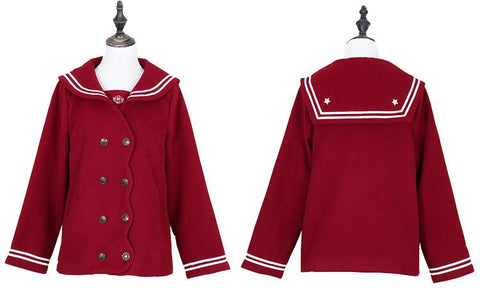 S/M/L Wine/Navy Sailor Sakura Embroider Woolen Uniform Coat SP154675 - SpreePicky  - 5