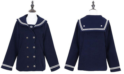 S/M/L Wine/Navy Sailor Sakura Embroider Woolen Uniform Coat SP154675 - SpreePicky  - 4