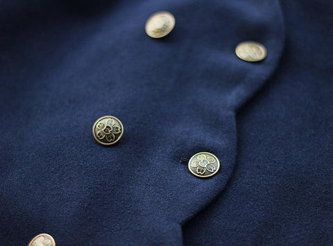 S/M/L Wine/Navy Sailor Sakura Embroider Woolen Uniform Coat SP154675 - SpreePicky  - 10