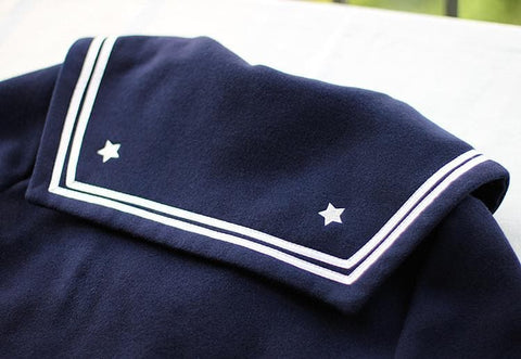 S/M/L Wine/Navy Sailor Sakura Embroider Woolen Uniform Coat SP154675 - SpreePicky  - 9