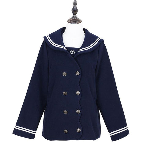 S/M/L Wine/Navy Sailor Sakura Embroider Woolen Uniform Coat SP154675 - SpreePicky  - 3