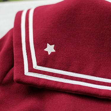 S/M/L Wine/Navy Sailor Sakura Embroider Woolen Uniform Coat SP154675 - SpreePicky  - 6